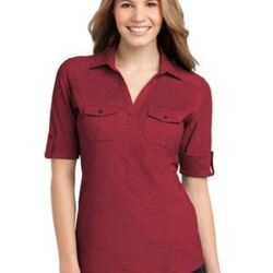 Ladies Oxford Pique Double Pocket Polo Thumbnail