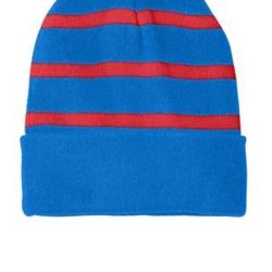 Striped Beanie with Solid Band Thumbnail